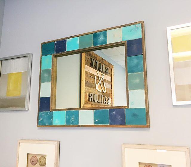 Huge Coastal inspired wooden mosaic mirr