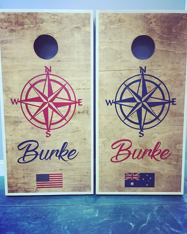 Custom order for a split country represented household 🇺🇸 🇦🇺 #HandPainted #Cornhole #CustomCornH