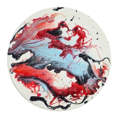 【 靖藍 硃紅 ・月球體・手工掛牆裝飾】夜光40cm
