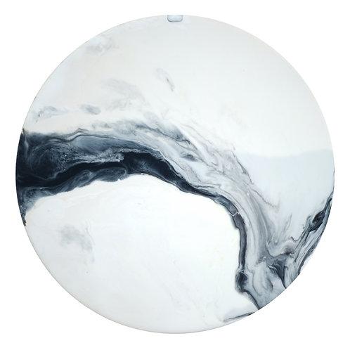 【Black & White 山水長畫・月球體・手工掛牆裝飾