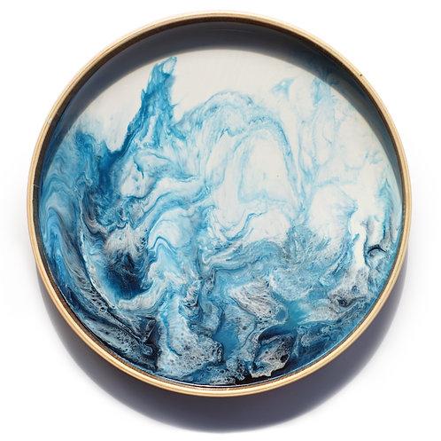 【 BlueTray 藍・月球體・原木扥盤】30cm