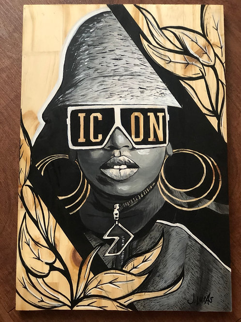 """ICON"" 12""x18"" Wood Painting"