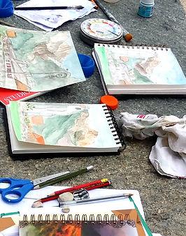 Watercolor drawing artistic hike. Balade artistique aquarelle montagne Chamonix.