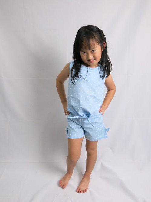 Girl Pants Set in Blue Polka Dot