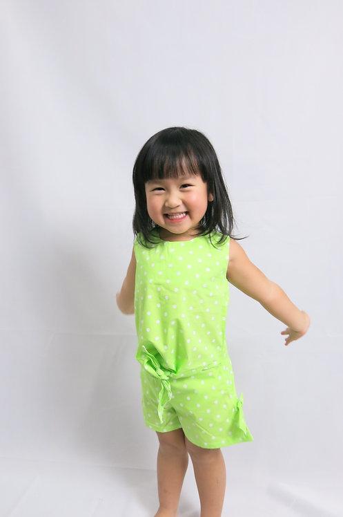 Girl Cute Pants Summer Set in Green
