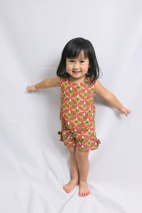 Orange print cute short pant set