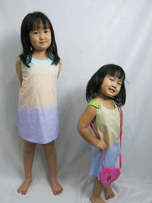 Rainbow Dress with Shoulder Buttons