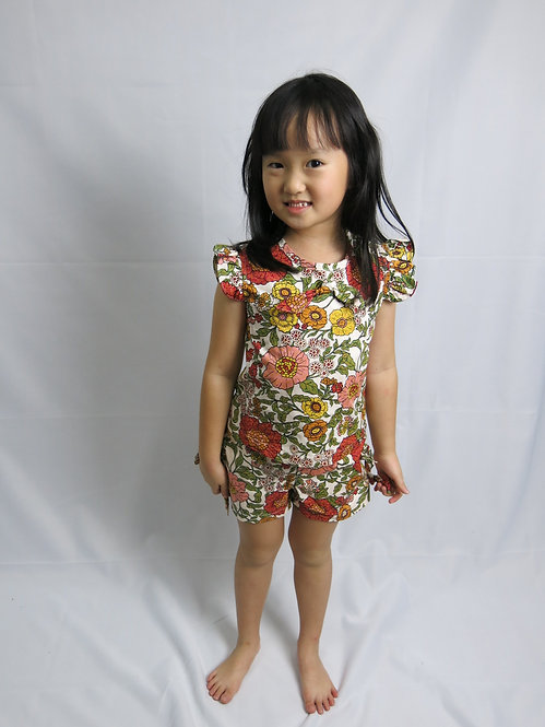 Cute blouse with short set in flower print super cute