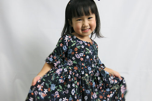 Breezy Flower print dress come with matching headband