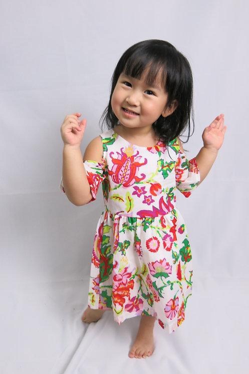 Off Shoulder White Flower Dress
