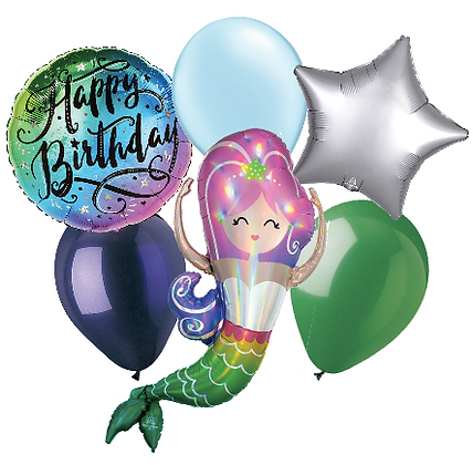 Happy Birthday Mermaid Balloon Bouquet