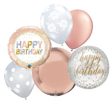 Rose Gold Happy Birthday Balloon Bouquet