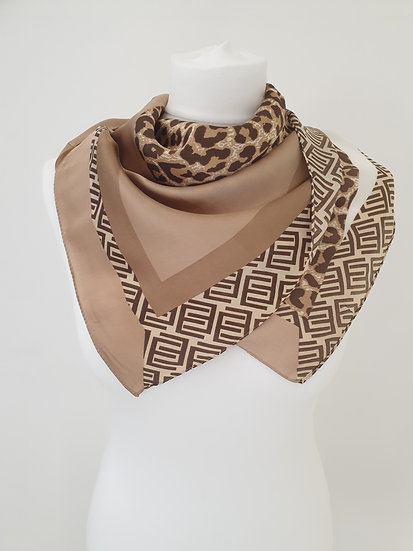 Leopard Print Kerchief-Super soft-touch woven fabric
