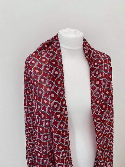 Silk Circle Pattern Scarf RED