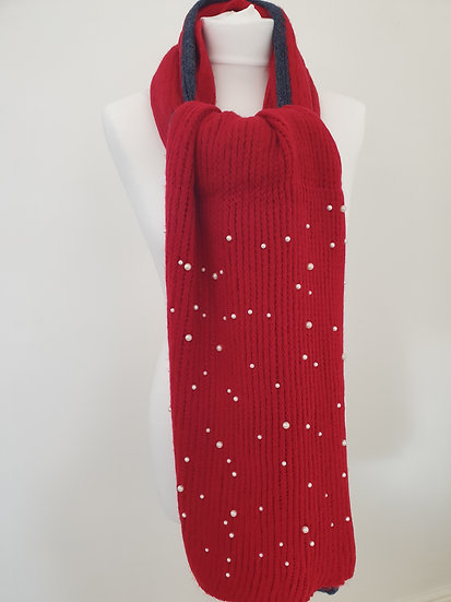 Cotton Scarf With Pearl Decoration RED