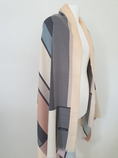 Cashmere New Style Scarf With Colourful Vertical Stripes