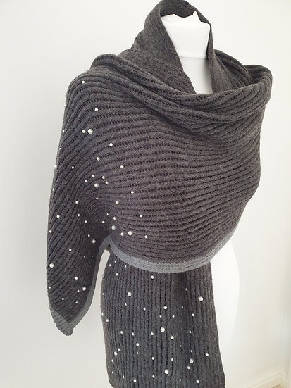 Cotton scarf with pearls GREY