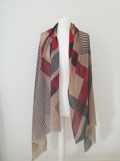 Oversized Scarf with Tassels RED