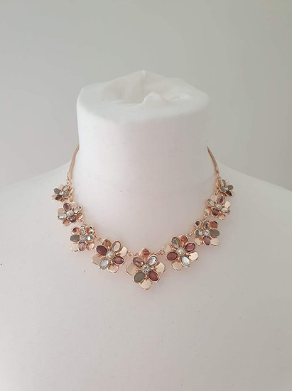 Rose Gold effect Flower style Ladies Necklace