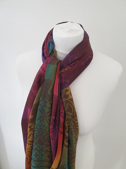 Bright Rainbow Colour Cotton Scarf with  Elk Pattern and Tassels