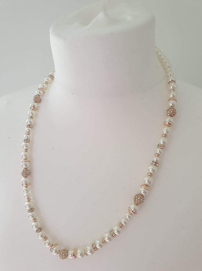 Jon Richard Luxury feel Ladies Pearl Necklace Rose Gold and Silver look