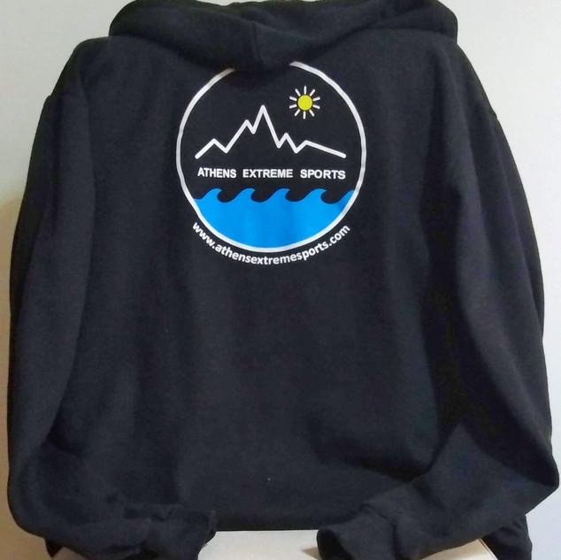 Black hooded jacket back