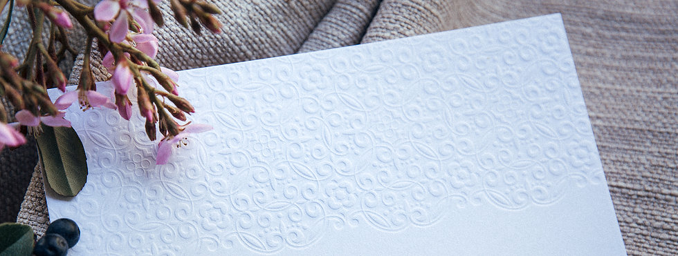 Letterpress Printed Wedding Invitation with blind debossed background pattern