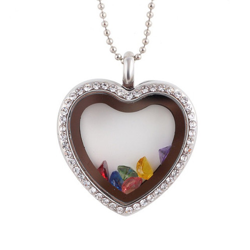 Sparkling floating charm birthstone heart locket rhinestone specifications mozeypictures Images