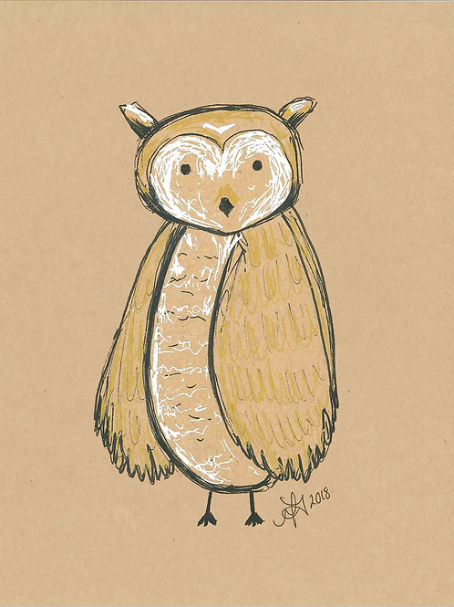 5x7 Owl Print