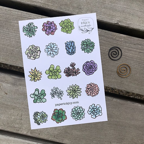 Sweet Succulents Sticker Sheet 4.75 x 6.5