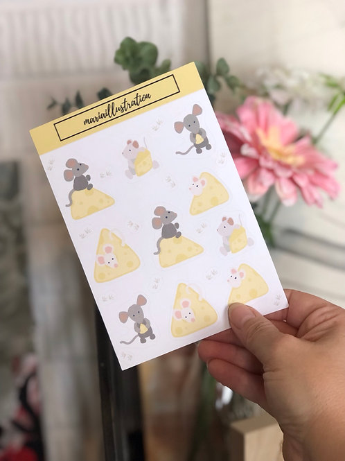 Mice and Cheese Sticker Sheet  4x6