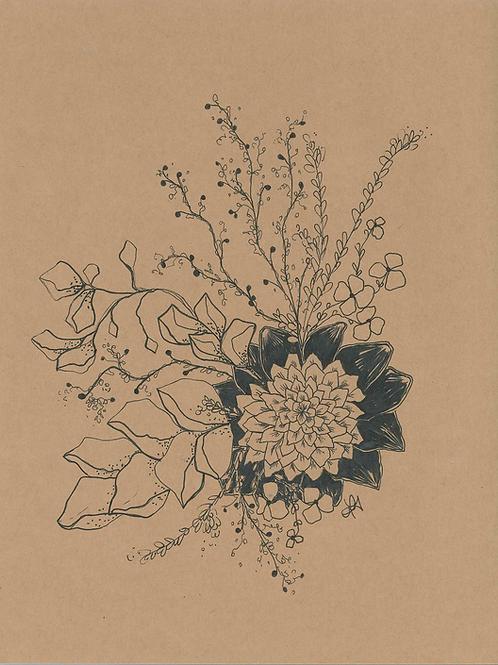 5x7 Black Petal Sketch Print