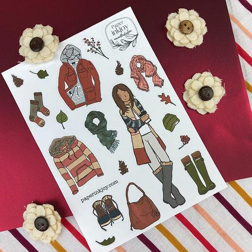 Fall Sweet Fall Fashion Sticker Sheet