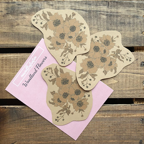 Woodland Flower Stickers on Brown Paper