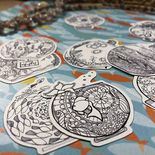 Fishbowl Coloring Stickers Set of 4