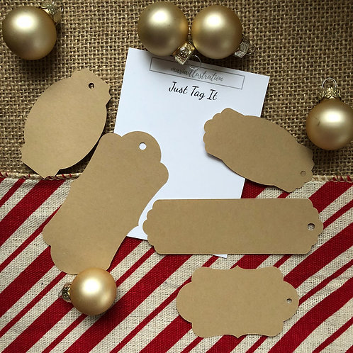 Set of 5 Just Tag It - Brown Paper Stickers