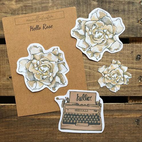 Hello Rose on White Matte Sticker Paper