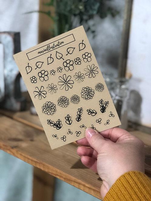 Craft Sketch Flower Sticker Sheet