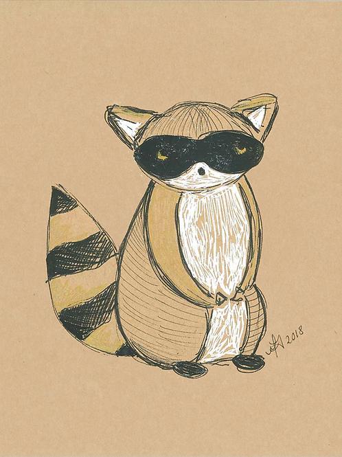 5x7 Raccoon Print