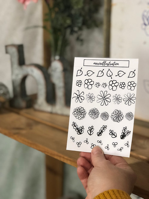 White Sketch Flower Sticker Sheet