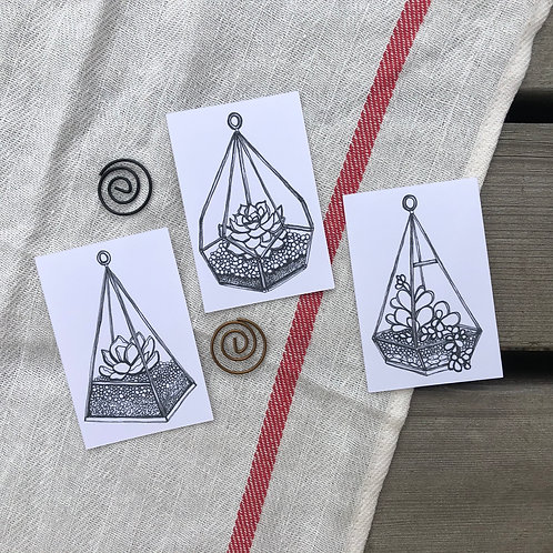 Geometric Terrarium Stickers Set of 3-2x3