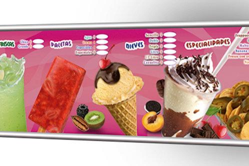 Display menu curvo 1.70x.50mt.