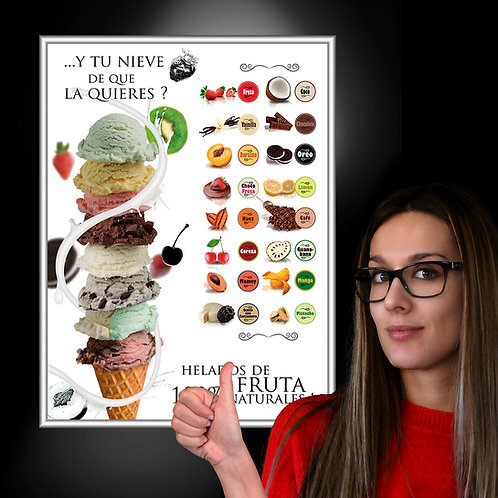 POSTER LUMINOSO ICE CREAM FLAVORS 122X244 CM