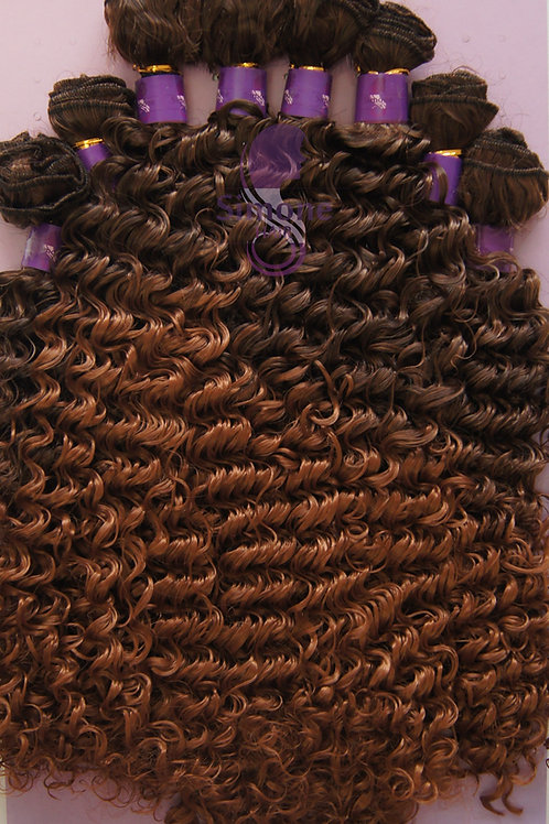 480 - Cabelo Orgânico Samba Curly - Castanho com loiro escuro