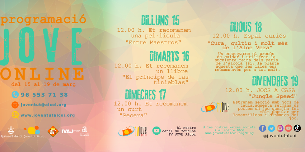 PROGRAMACIÓ ONLINE SETMANA DEL 15 FINS AL 19 DE MARÇ