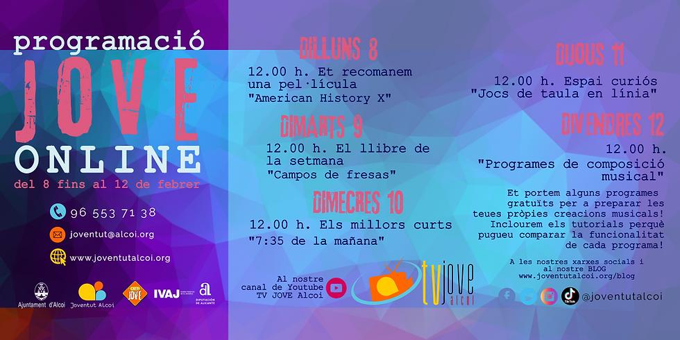 PROGRAMACIÓ ONLINE SETMANA DEL 8 FINS AL 12 DE FEBRER