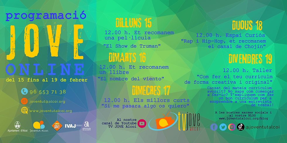 PROGRAMACIÓ ONLINE SETMANA DEL 15 FINS AL 19 DE FEBRER