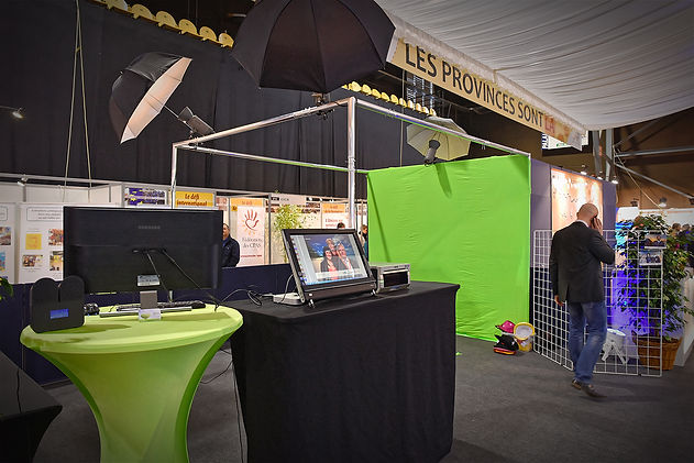Stand photo, photobooth green key, event