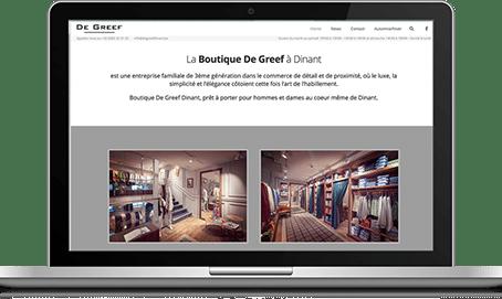 Création du site de la Boutique De Greef à Dinant