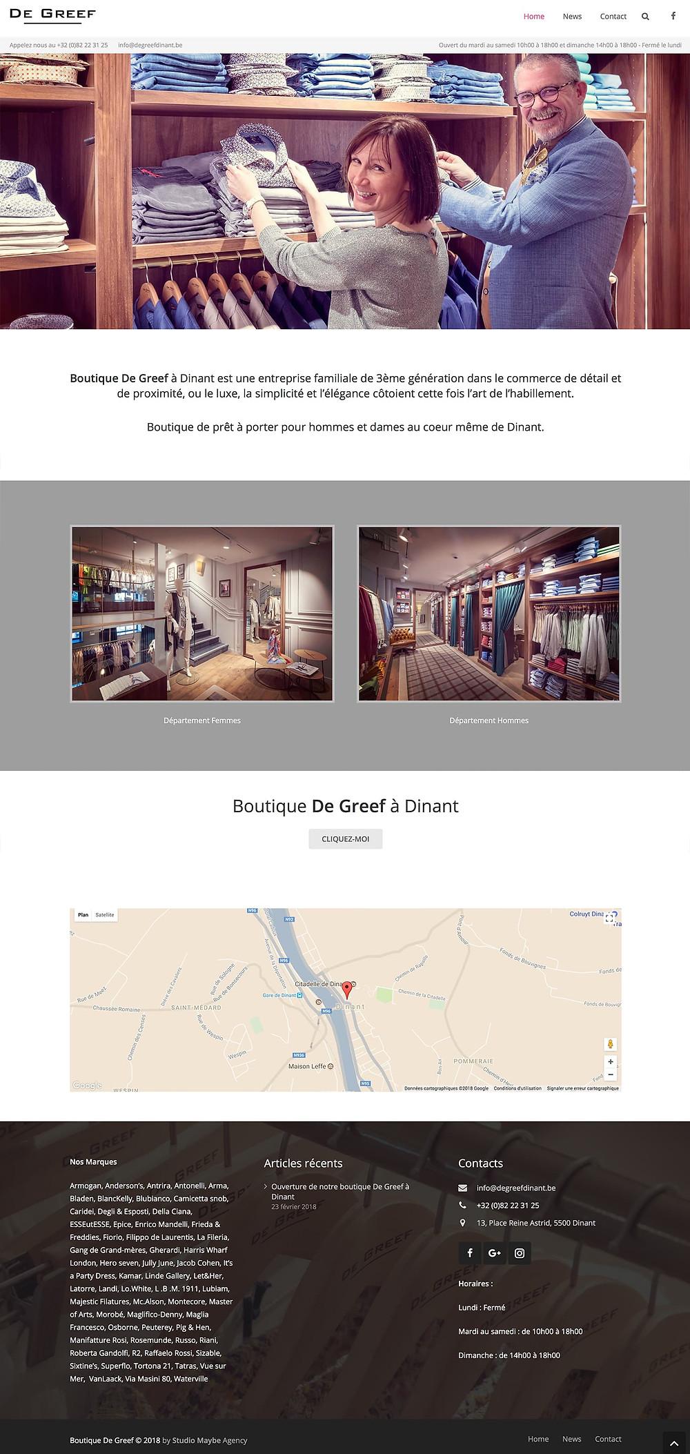 Création du site internet Boutique De Greef Dinant by Studio Maybe